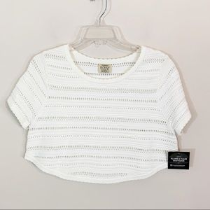 Torn by Ronny Kobo • White Knit Crop Top Medium